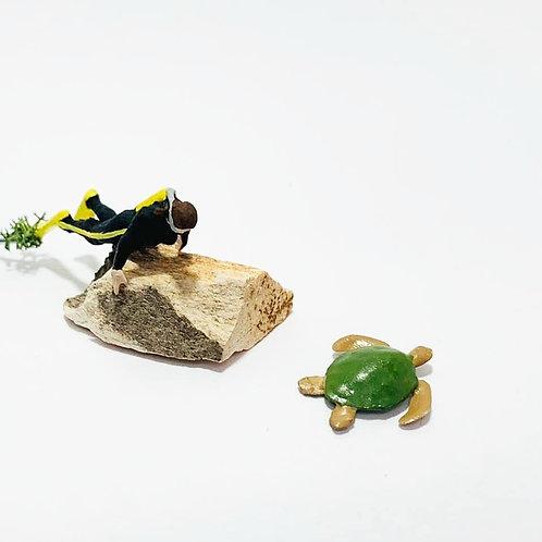 Mergulhador com tartaruga