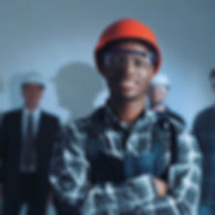 Handsome african young builder in protec