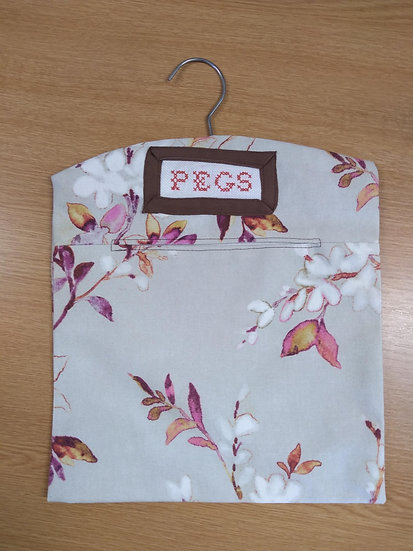 Handmade Cotton Peg-Bag with Cross-stitched 'PEGS' 27cms xx 27 cms