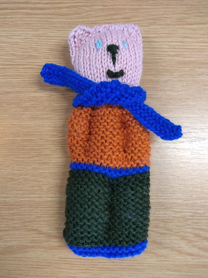 Handknitted Teddy 18cms Tall