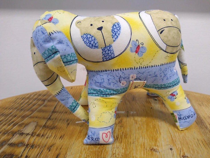 Handmade Cotton Elephant Approx 14cms Tall