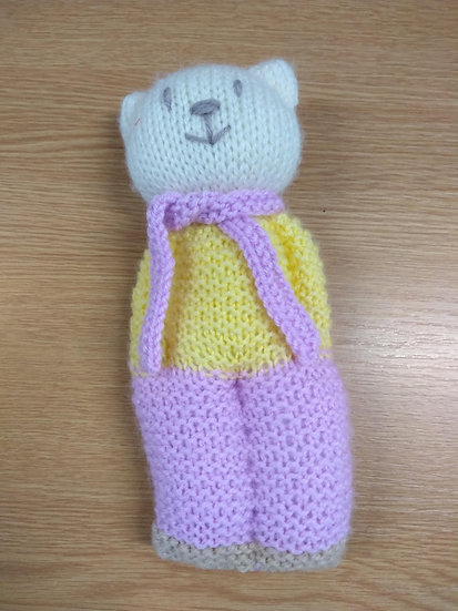 Handknitted Teddy Approx 18cms Tall
