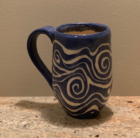Mug Sgraffito Carved Swirl Design