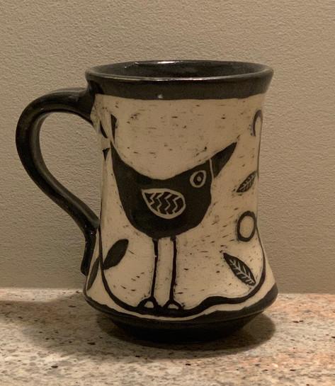 Mug Sgraffito Carved Bird Design