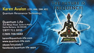 Quantum Life Owner Karen Avalon's Business Card