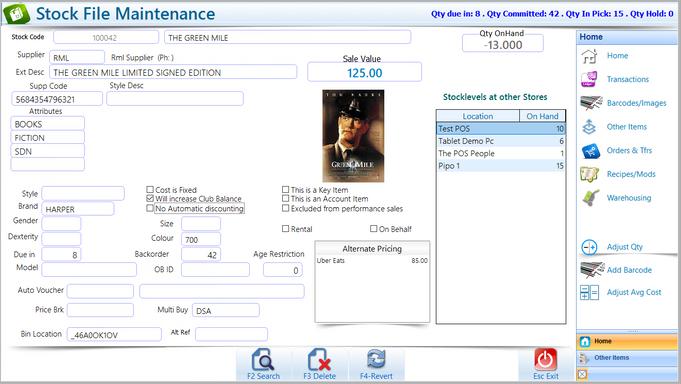 Stock File Mintenance