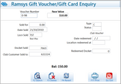 Ramsys Gift Voucher/Gift Card Enquiry