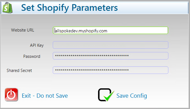 Set Shopify Parameters