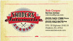 Sanders Automotive Business Card