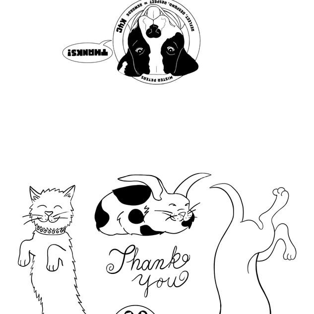 Kids 4 Critters Thank You Card B & W