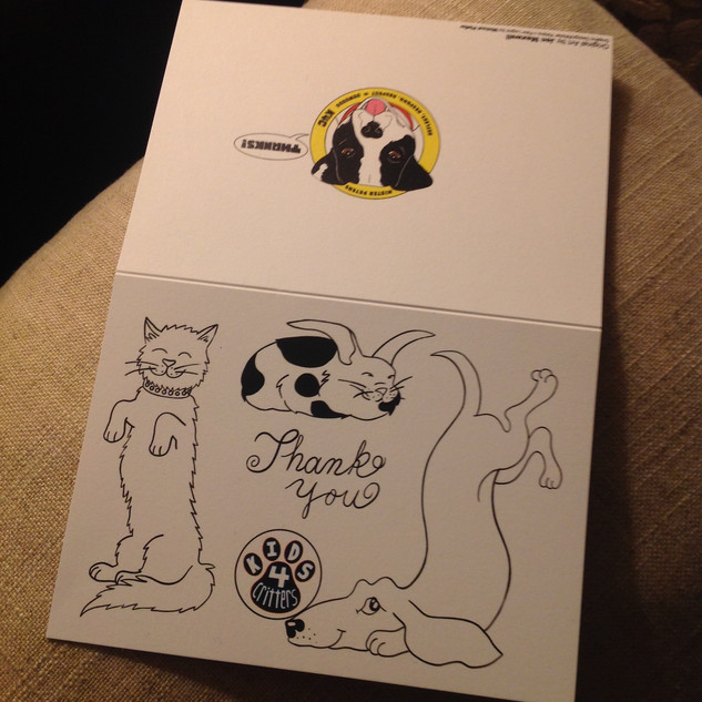 Kids 4 Critters Thank you Card