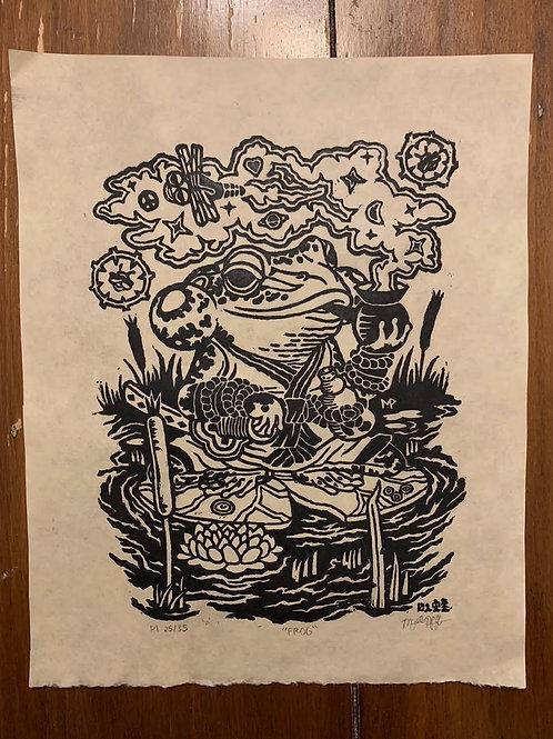 """FROG"" linocut on paper"