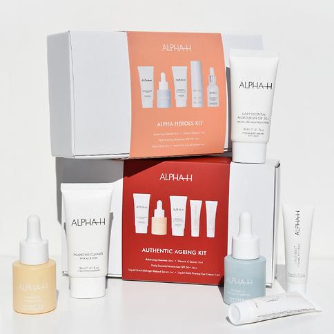 ALPHA-H skin care kits authetic ageing kit en heroes kit anti rimpel huidveroudering versl