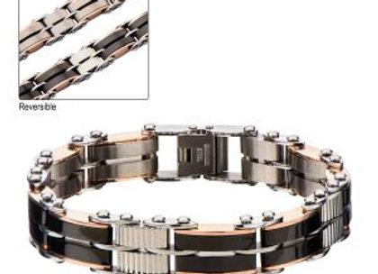 Black & Rose Gold Plated Reversible Bracelet