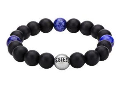 Lapis & Black Onyx Beads Bracelet