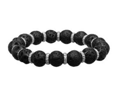 Steel Zinc Ring and Black Lava Beads Bracelet