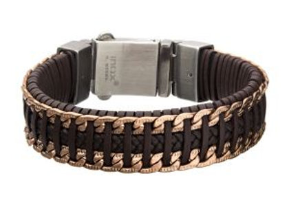 Brown & Black Weave Leather with Rose Gold Chain Bracelet