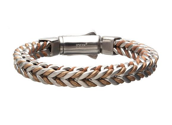 Leather Binding Steel Chain Bracelet