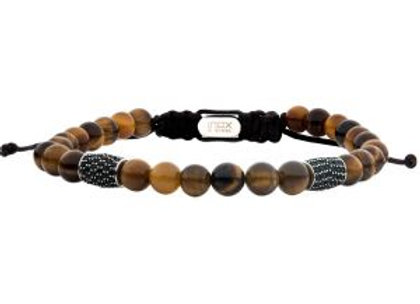 Stainless Steel Beads with Black CZ & Tiger Eye Stone Bead Adjustable Non-Braide
