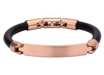 Matte Finished Rose Gold Plated Bar ID Rubber Engravable Bracelet