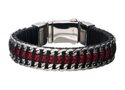 Red & Black Weave Leather with Steel Chain Bracelet