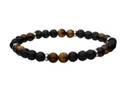Lava and Tiger Eye Yellow Beads Bracelet