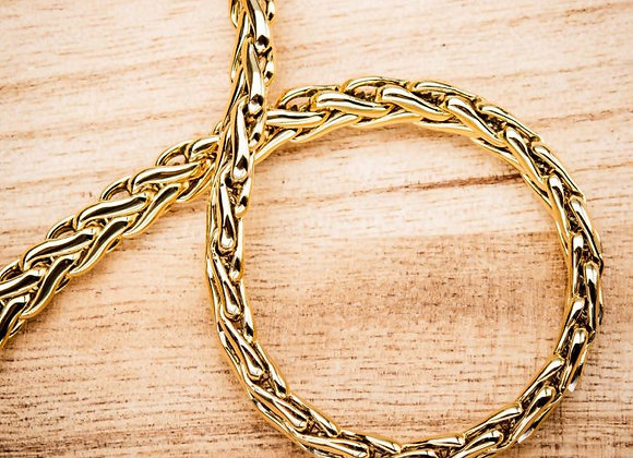Stainless Steel 18K Gold Plated Spiga Chain