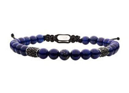 Stainless Steel Beads with Black CZ & Lapis Stone Bead Adjustable Non-Braided Br