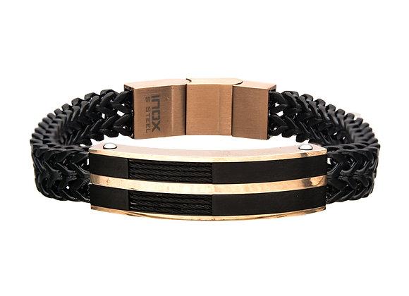 Stainless Steel, Black IP & Rose Gold IP Franco Chain Bracelet