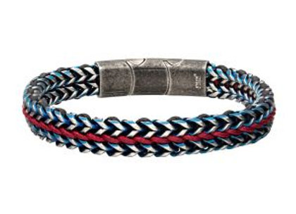 Allegiance Stainless Steel Bracelets with Red Wax Cord binding 2 Blue Antique Br