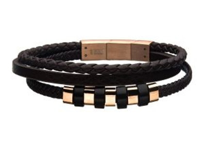Brown Braided Multi Leather with Steel & Rose Gold IP Beads Bracelet