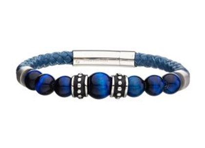 Blue Genuine Leather with Steel & Blue Tiger Eye Beads Bracelet