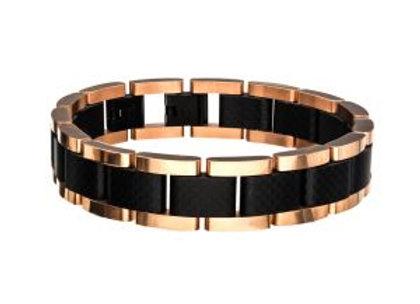 Black and Rose Gold Plated with Carbon Fiber Link Bracelet