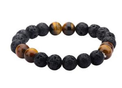 Black Lava and Brown Tiger Eye Beads Bracelet