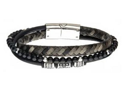 Black Onyx Beads with Black Braided Leather Layered Bracelet
