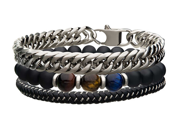 Black Braided Leather, Stone Beads and Stainless Steel Curb Chain Stackable Brac