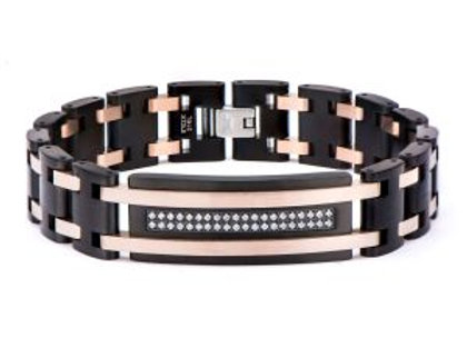 Black Plated and Rose Gold Plated with Clear CZ Stone ID Link Bracelet