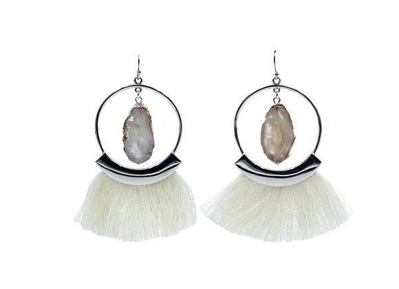 Silver Ashen Fringe Earrings