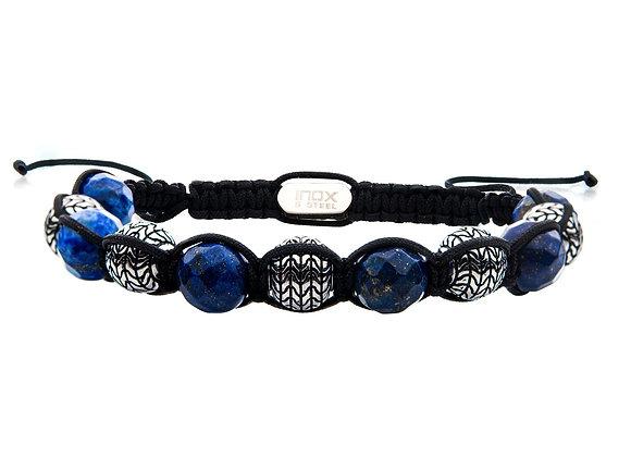 Stainless Steel & Lapis Stone Bead Adjustable Braided Bracelet