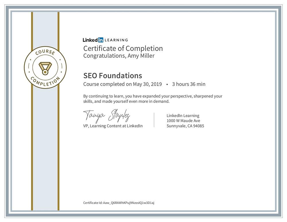 SEO skills certification