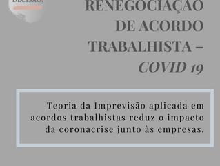 RENEGOCIAÇÃO DE ACORDO TRABALHISTA – COVID 19 TEORIA DA IMPREVISÃO