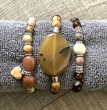 Set of Gemstone Bracelets Moss Agate