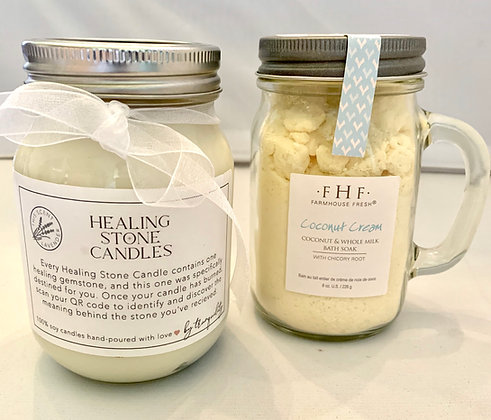 Coconut Cream Bath Soak with Healing Stone Candle