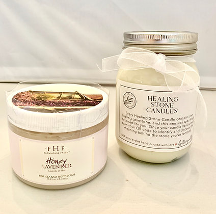 Farmhouse Fresh Body Scrub with Healing Stone Candle