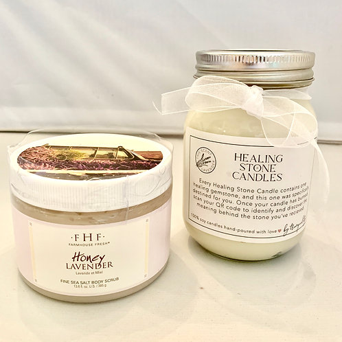 Farmhouse Fresh Body Scrub with Healing Stone Candle
