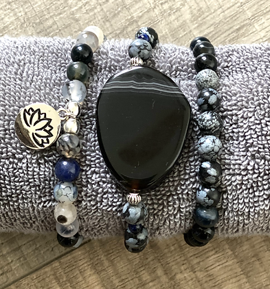 Set of Black and Gray Bracelets