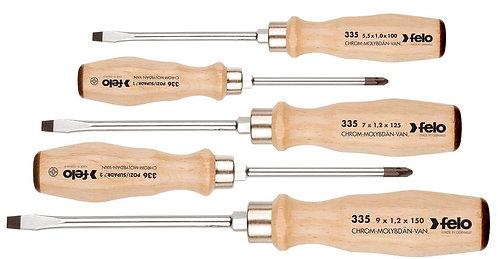 Набор отверторк ударных SL/PZ с деревянной рукояткой, 5 шт Felo 33595298