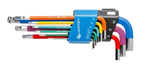 Ключи шестигранные, с цветовой кодировкой HOEGERT HT1W806