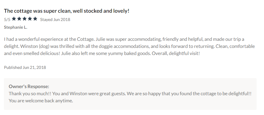 Cottage Review VRBO
