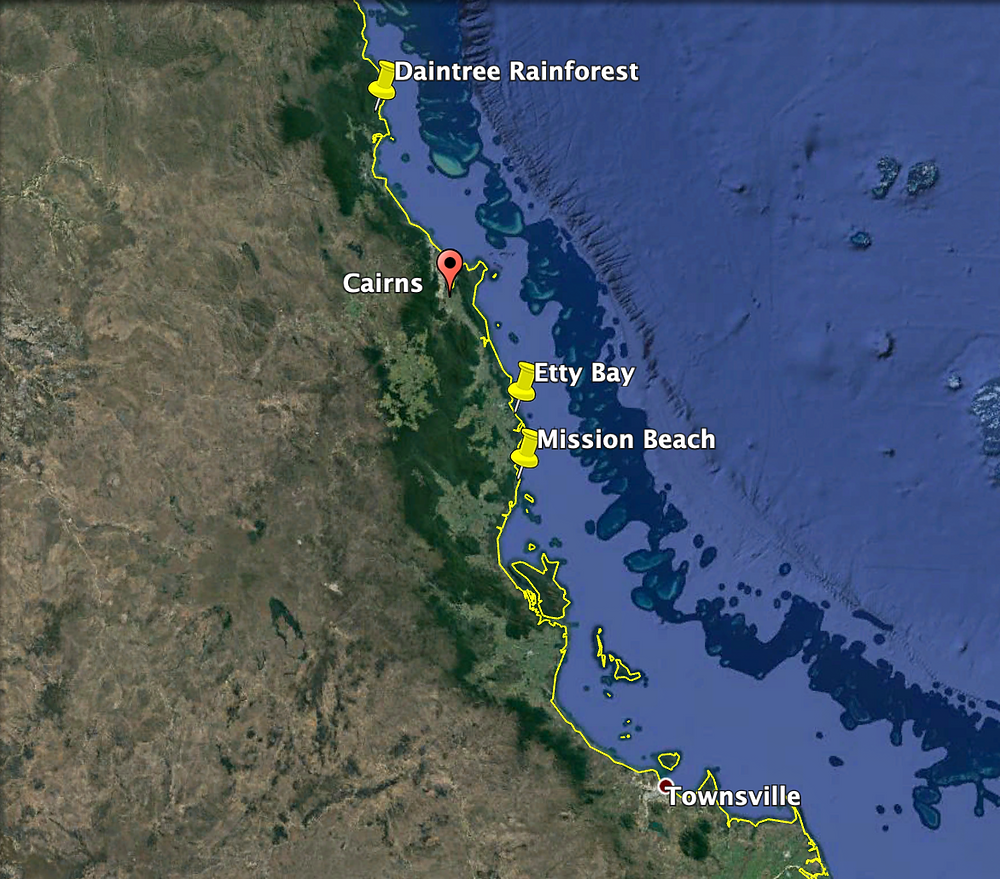 Places where I saw cassowaries are marked with the yellow pins